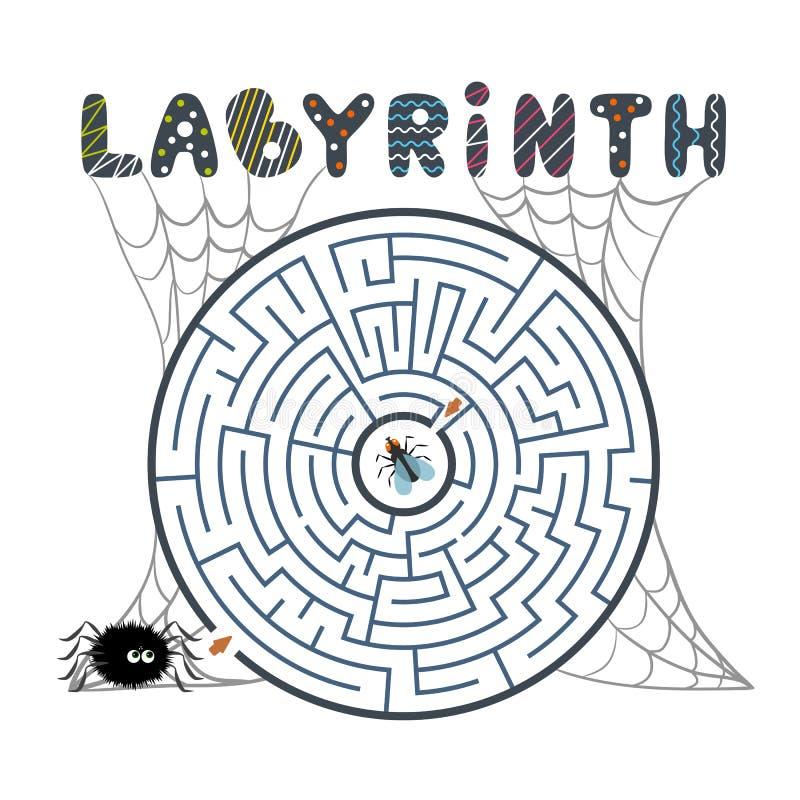 Rond zwart labyrint met spin, vlieg en Web op witte achtergrond Kinderens labyrint Spel voor jonge geitjes Kinderens raadsel voor stock illustratie