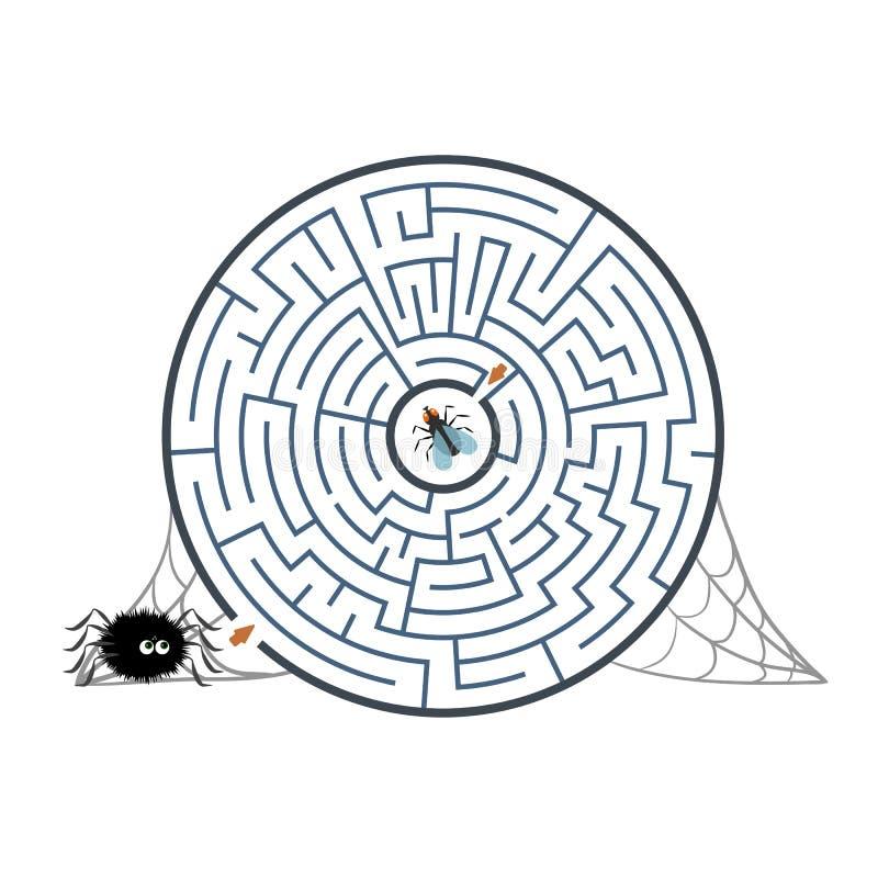 Rond zwart labyrint met spin, vlieg en Web op witte achtergrond Kinderens labyrint Spel voor jonge geitjes Kinderens raadsel voor vector illustratie