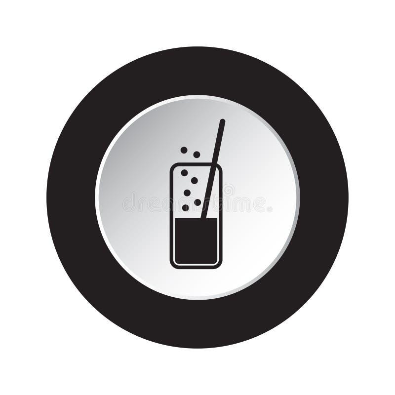 Rond zwart, wit pictogram - sprankelende drank, stro royalty-vrije illustratie