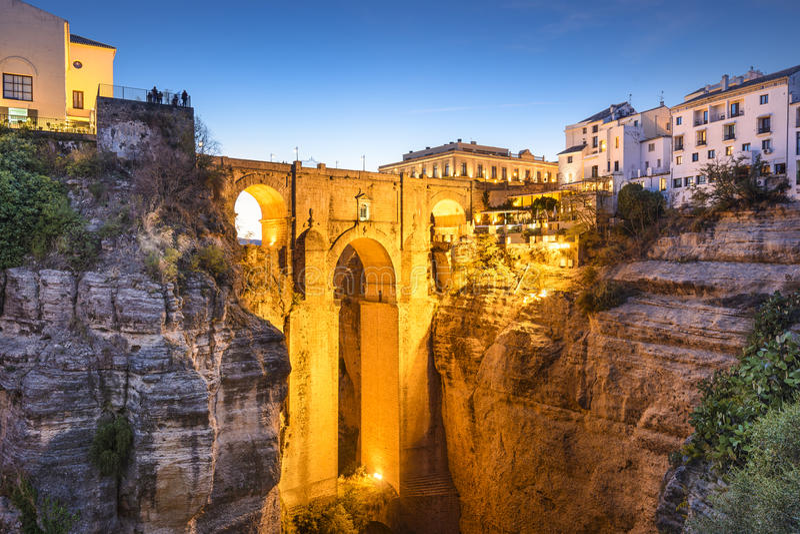 Ronda, Ισπανία στη γέφυρα Puento Nuevo στοκ φωτογραφία με δικαίωμα ελεύθερης χρήσης