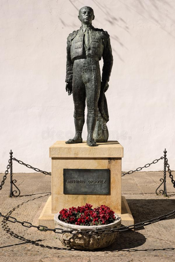 Ronda, Andalucia, Spain - March 16, 2019 : bronze statue of the famous bullfighter Antonio Ordonez situated outside the historic royalty free stock image