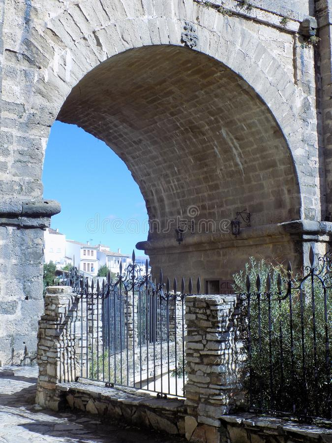 Ronda-bridge arch of Tajo-Andalusia stock images
