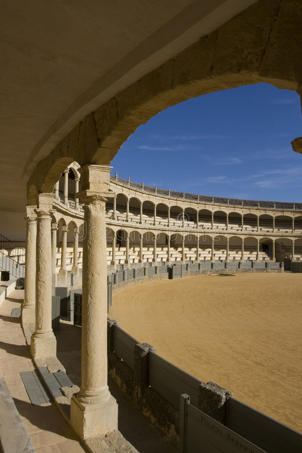 Ronda bullring - plaza de toros. A view of the Plaza de Toros (bullring) in Ronda (Andalucia, Spain), one of the places where modern corrida (bullfighting) was stock photography
