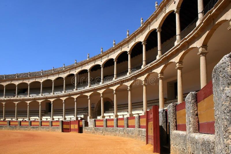 Ronda, The Bullring at Ronda. The bullring in Ronda is one of the oldest and most beautiful in Spain royalty free stock photo
