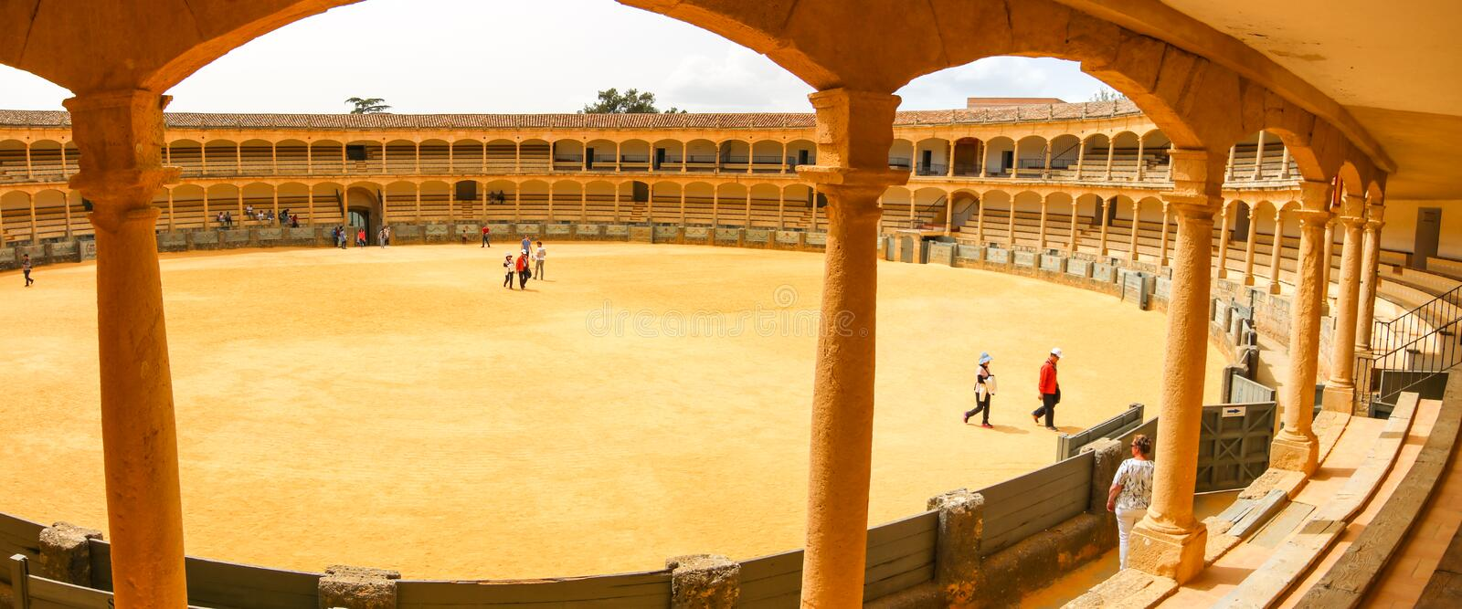 Ronda bullring view. You can visit this bullring when there are no bulls fights at Ronda, Andalusia, Spain stock image