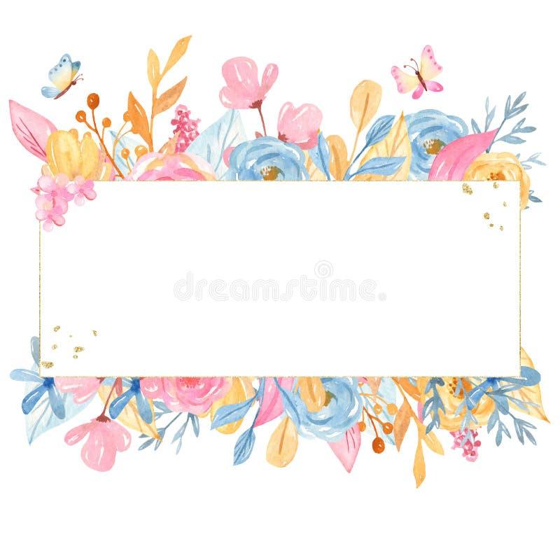 Ronda de oro de la acuarela, marco rectangular con las flores Colecci?n rom?ntica del unicornio ilustración del vector