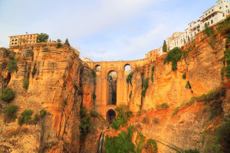 Spain, Ronda, Famous Puente Nuevo Bridge`s Arch. Ronda, Famous Puente Nuevo Bridge`s Arch stock images