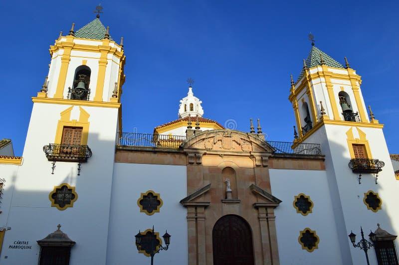 Ronda - la chiesa di parrocchia di Socorro, del Socorro di Parroquia de Nuestra Señora immagini stock libere da diritti