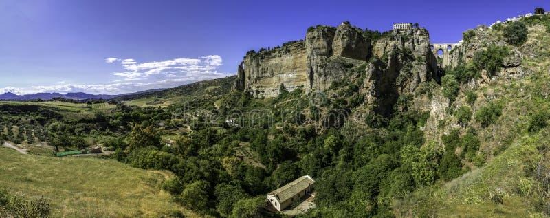 Ronda landscape panoramic view. stock photo