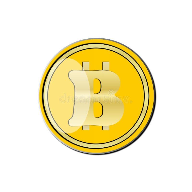 Ronda, oro, ½ amarillo del ¾ иРdel 'кРde la moneda Ð±Ð¸Ñ en un fondo blanco stock de ilustración