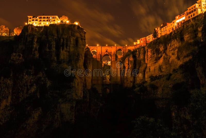 Ronda por noche fotografía de archivo