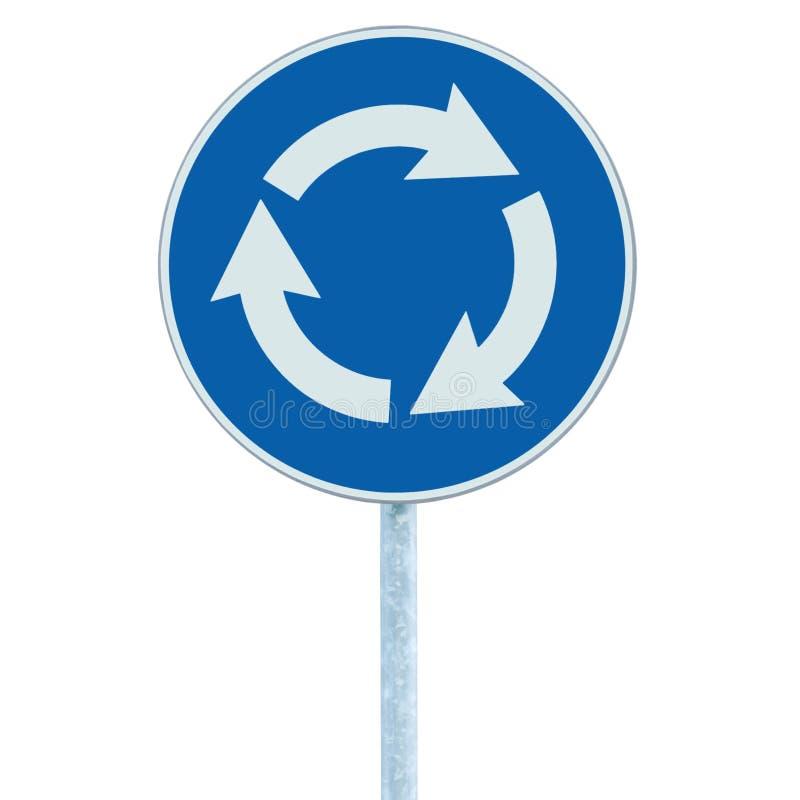 Ronda rozdroża drogowy znak odizolowywający, błękit, białe strzała lewe ręki, pobocze ruchu drogowego signage vertical zbliżenie zdjęcie royalty free