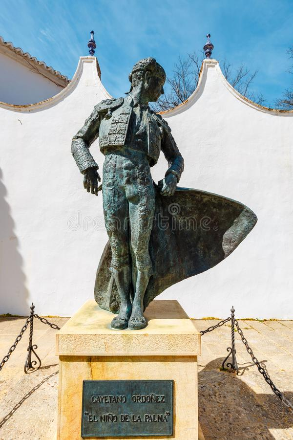 A statue at the entrance to the Plaza de Toros in Ronda, Spain royalty free stock image