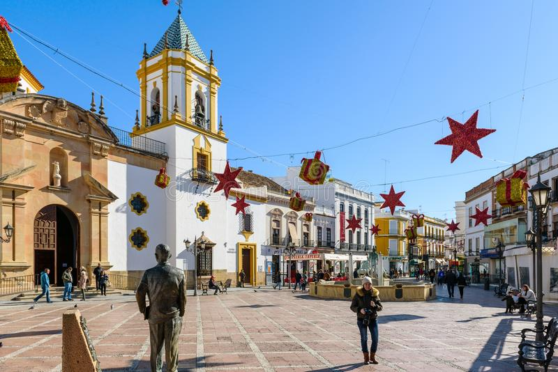 Central square of Ronda town decorated with Christmas toys. RONDA, SPAIN - DECEMBER 2017: Central square of Ronda town decorated with Christmas toys stock image
