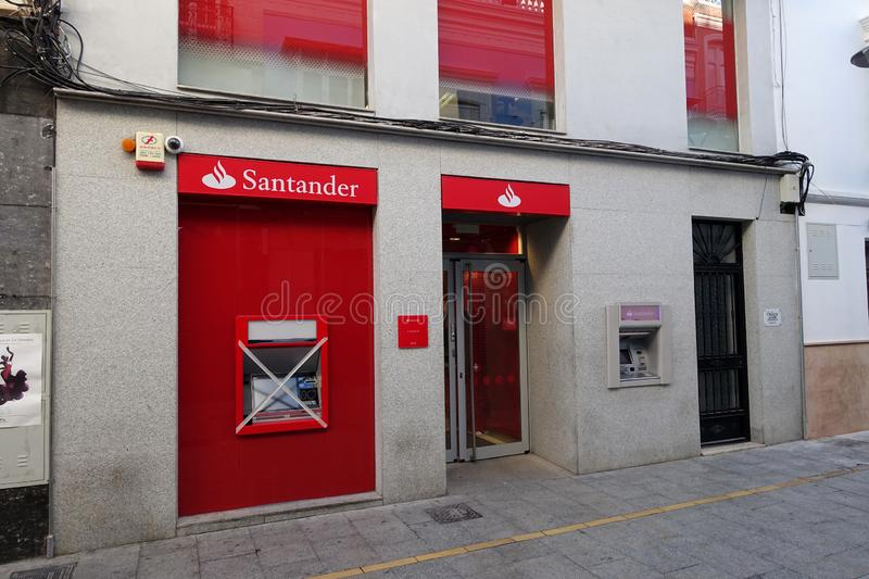A branch of Santander bank with a new cashpoint not yet in use and taped off stock images