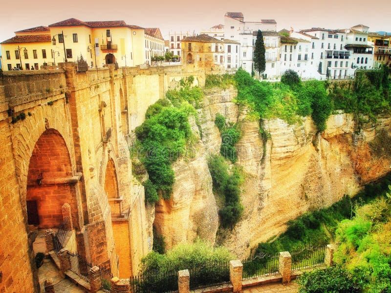 Ronda Spanien, ett landskap med den Tajo klyftan royaltyfria bilder