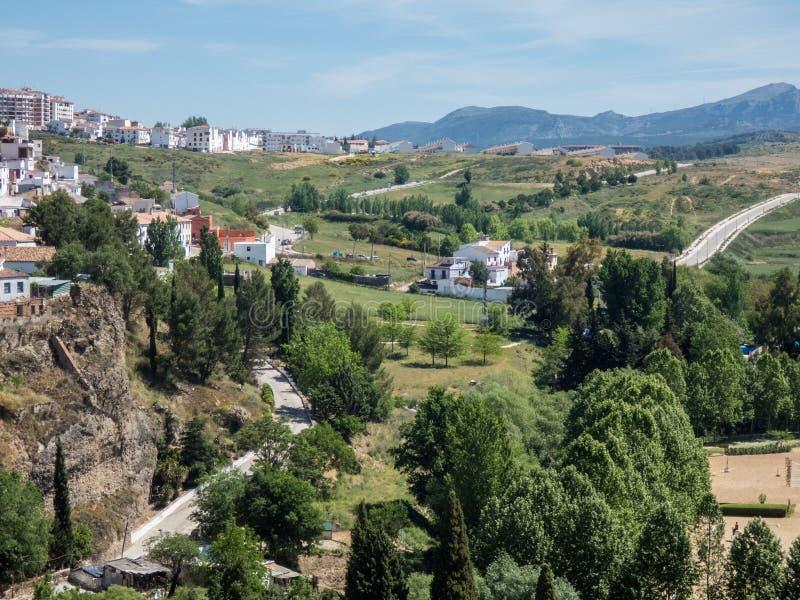 Ronda, vista da parte superior em Ronda e arredores, Espanha, Andalucia fotografia de stock