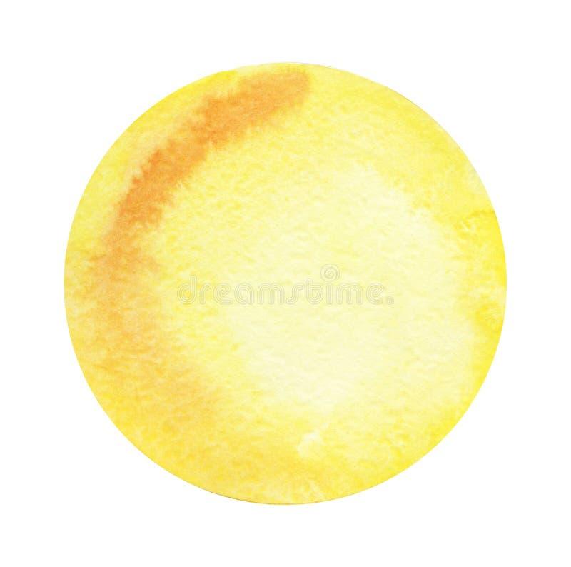 Ronde abstracte waterverfachtergrond van gele kleur met een radiale gradiënt Hand-drawn document illustratie royalty-vrije stock foto