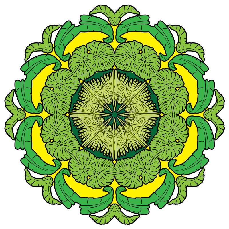 Ronde achtergrond - sier bloemenpatroon vector illustratie