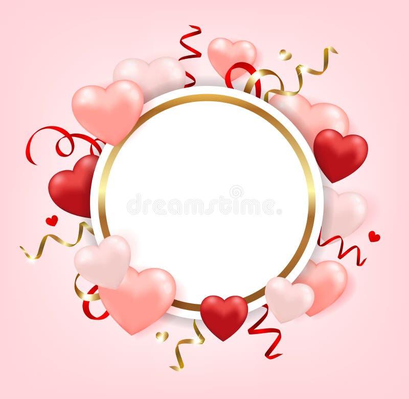 Ronde banner voor de dag van Valentine ` s royalty-vrije illustratie