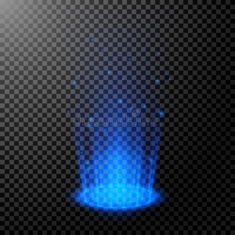 Ronde blauwe gloedstralen Nachtscène met vonken Magisch fantasieportaal Leeg lichteffectpodium Futuristische teleport Vector vector illustratie