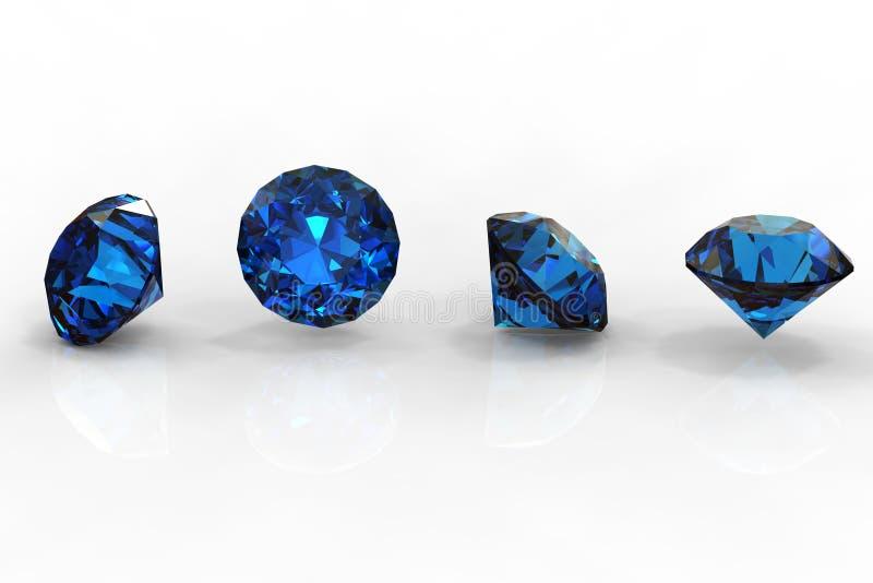 Ronde blauwe saffier stock illustratie