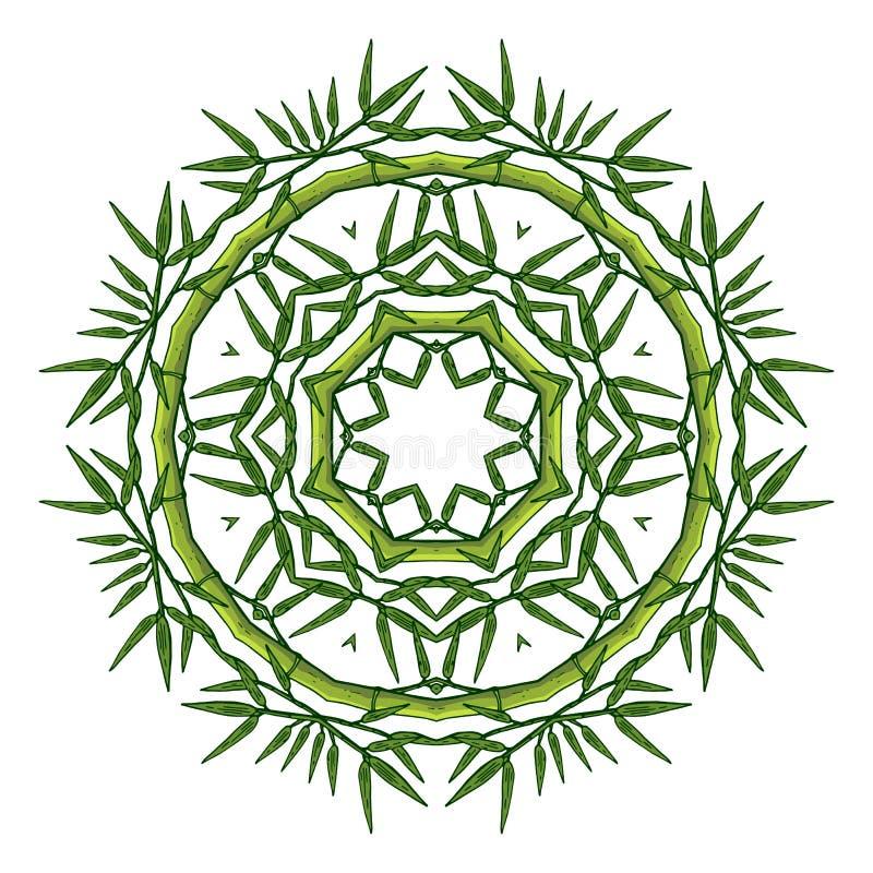 Ronde bloemendieornamentmandala op wit wordt geïsoleerd vector illustratie