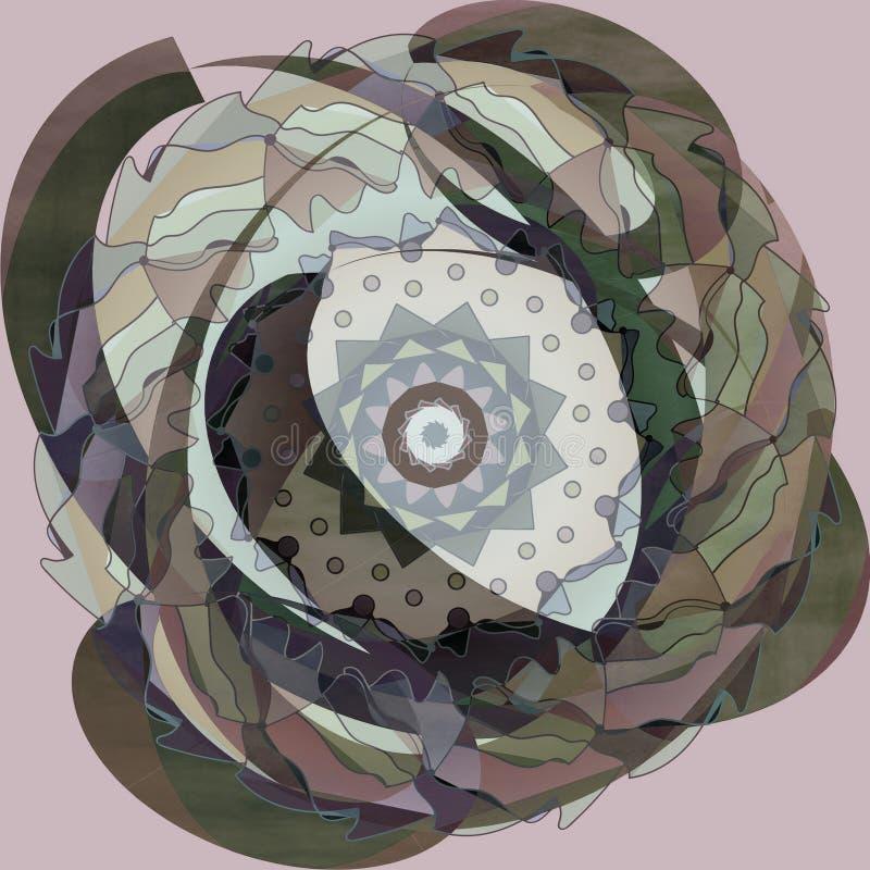 Ronde bloemenmandala, in pastelkleurenpalet, duidelijke lilac achtergrond, uitstekend beeld stock illustratie