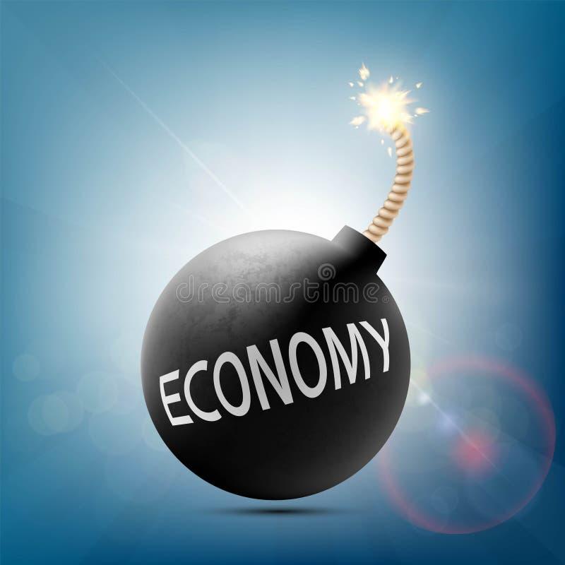 Ronde bom met een brandende wiek en woordeconomie stock illustratie