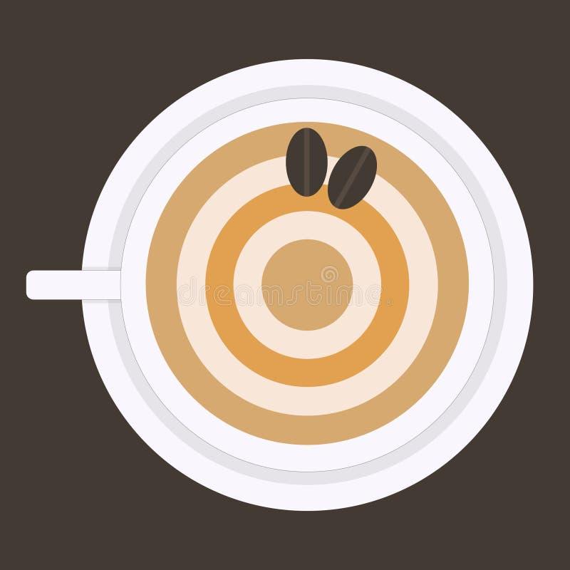 Ronde bruine capuccino met coffeakorrels royalty-vrije stock foto's