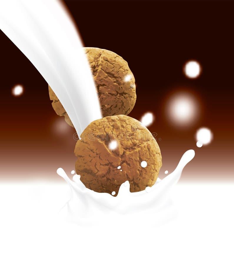 Ronde bruine koekjes die in witte gietende melk vallen Realistische vectorillustratie met vage chocoladekleur vector illustratie