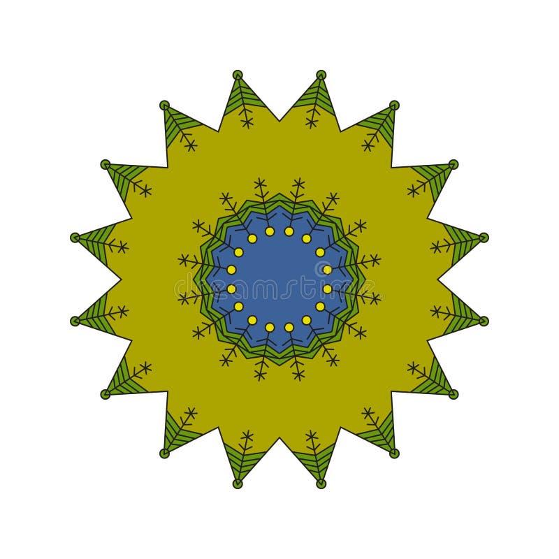 Ronde colrful die ornamentmandala op een witte achtergrond wordt geïsoleerd royalty-vrije illustratie