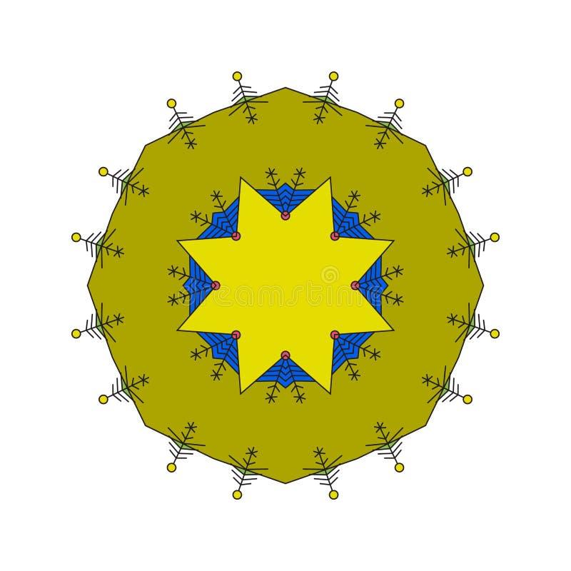 Ronde colrful die ornamentmandala op een witte achtergrond wordt geïsoleerd vector illustratie
