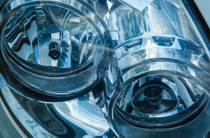 Ronde de detailsmening van de auto hoofd lichte close-up royalty-vrije stock afbeeldingen