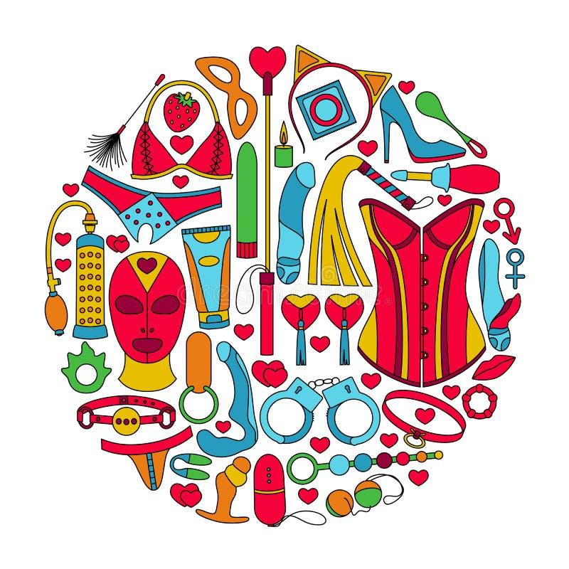 Ronde die achtergrond van geslachtsspeelgoed wordt gemaakt Kleurrijke geschetste pictogrammen stock illustratie