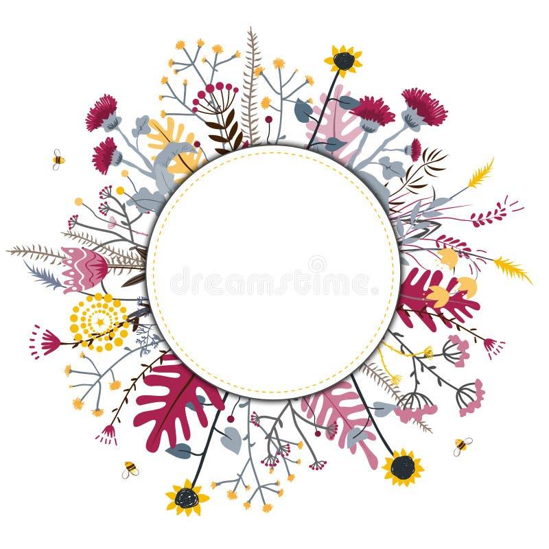Ronde die ge?soleerde de kroonhand van bloemkrabbels op wit voor groetkaart of tekst, vectorillustratie wordt getrokken royalty-vrije illustratie