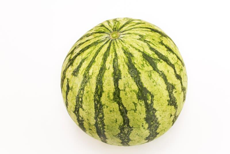 Ronde die watermeloen, op wit wordt geïsoleerd royalty-vrije stock afbeelding