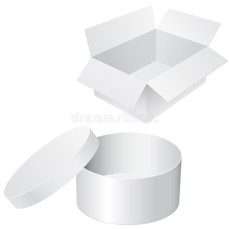 Ronde en vierkante witte dozen De lege Containers van de Shampoo en van het Veredelingsmiddel stock illustratie