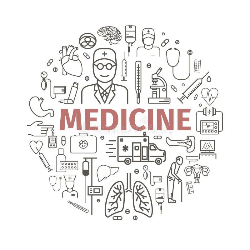 Ronde geneeskundebanner royalty-vrije illustratie