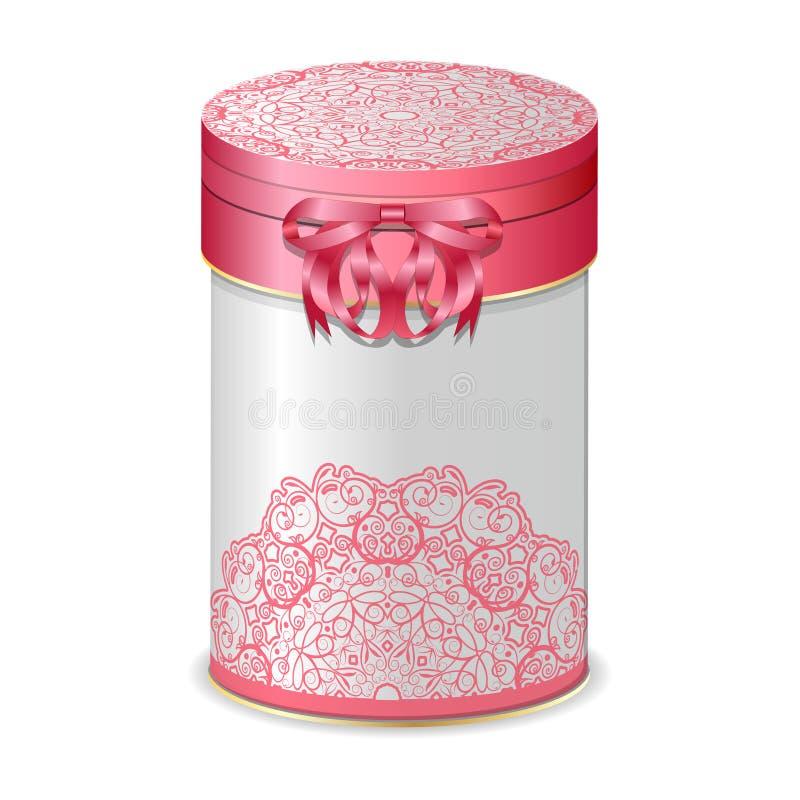 Ronde giftdoos met boog en roze kantpatroon vector illustratie