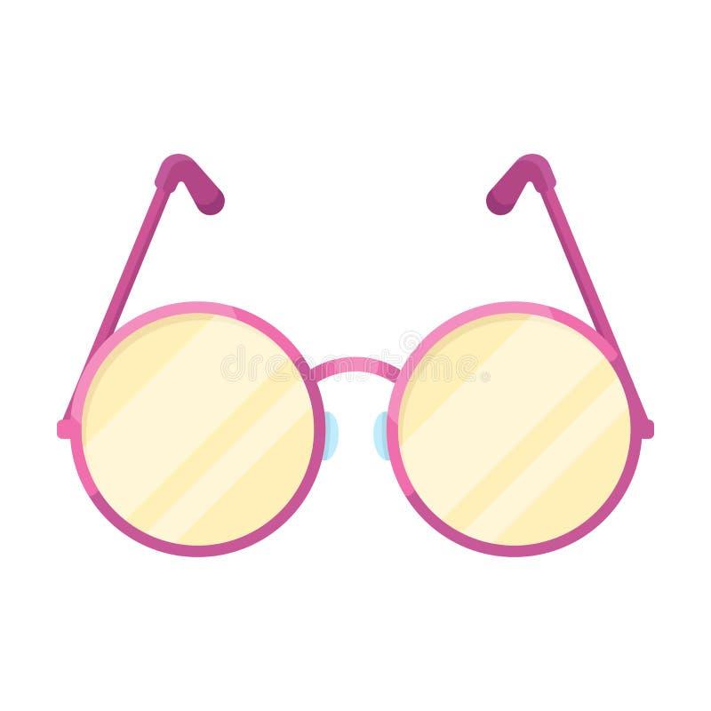 Ronde glazen in een roze kader Hippy enig pictogram in beeldverhaalstijl rater, bitmap de illustratieweb van de symboolvoorraad vector illustratie