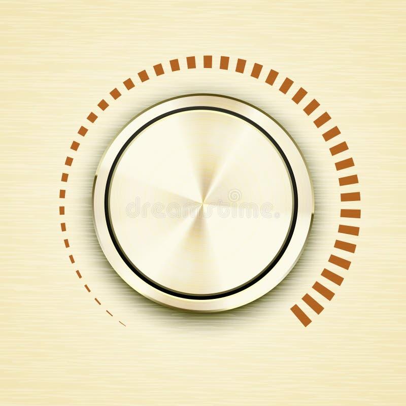 Ronde gouden metaalvolumeknop stock illustratie
