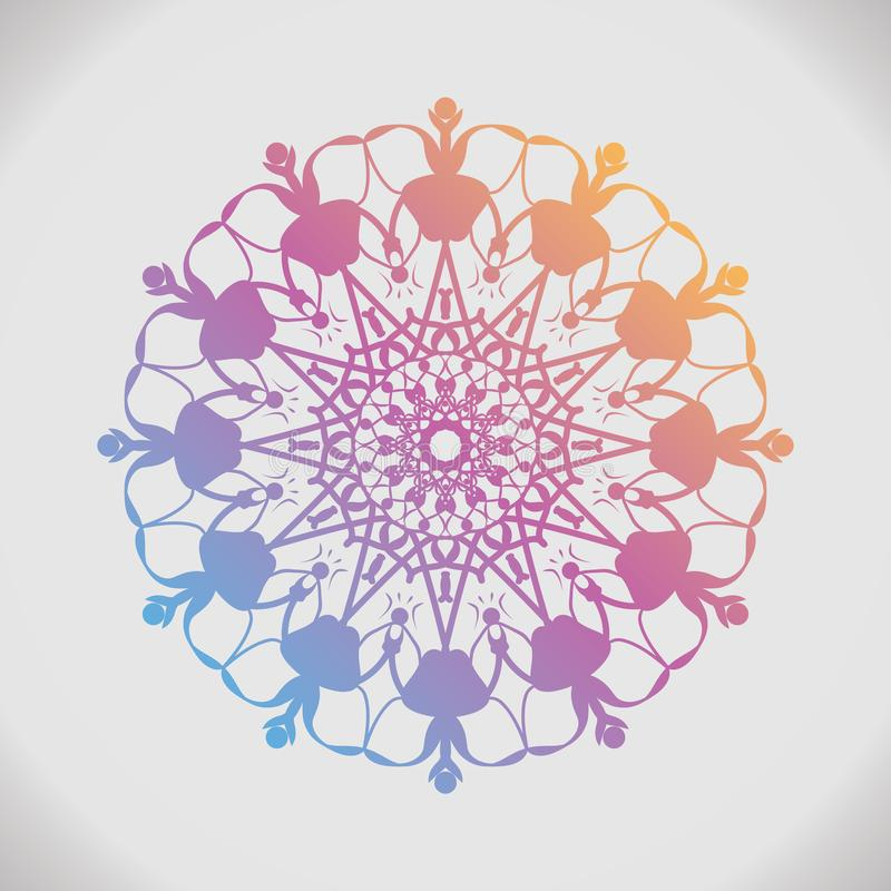 Ronde gradiëntmandala op wit geïsoleerde achtergrond Uitstekende decoratieve elementen stock illustratie