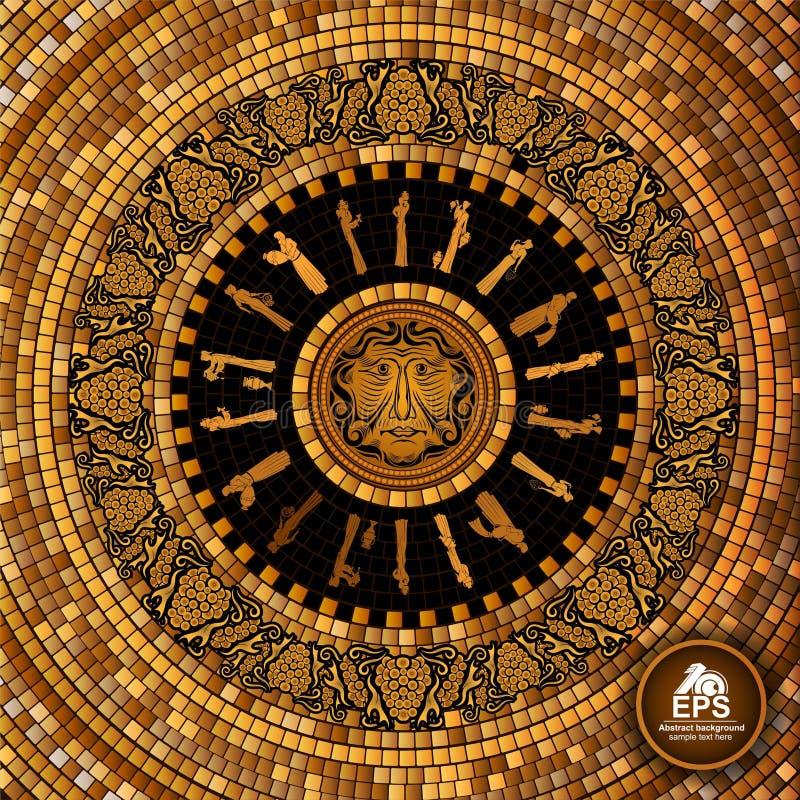 Ronde Griekse tegel geometrische achtergrond met druiven en het patroon en het gezicht van de wijnmaker stock illustratie