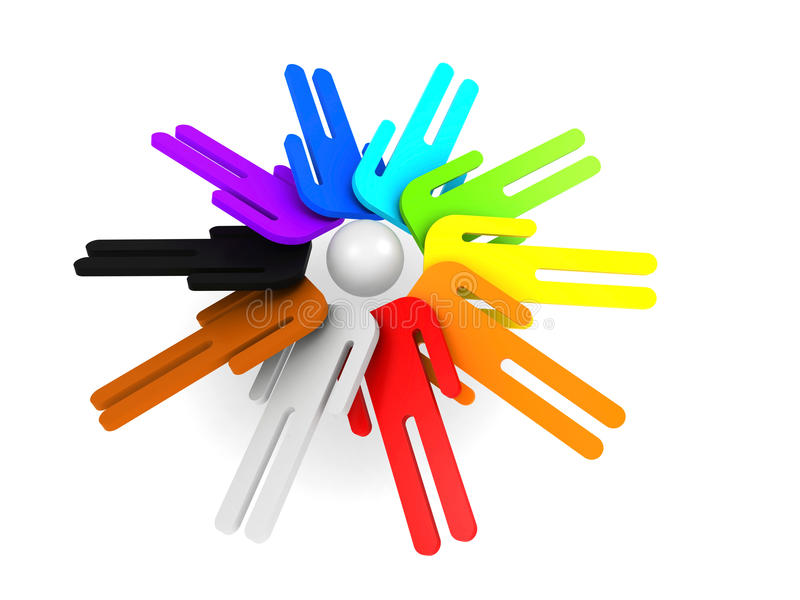 Ronde groep schematische kleurrijke 3d mensen vector illustratie