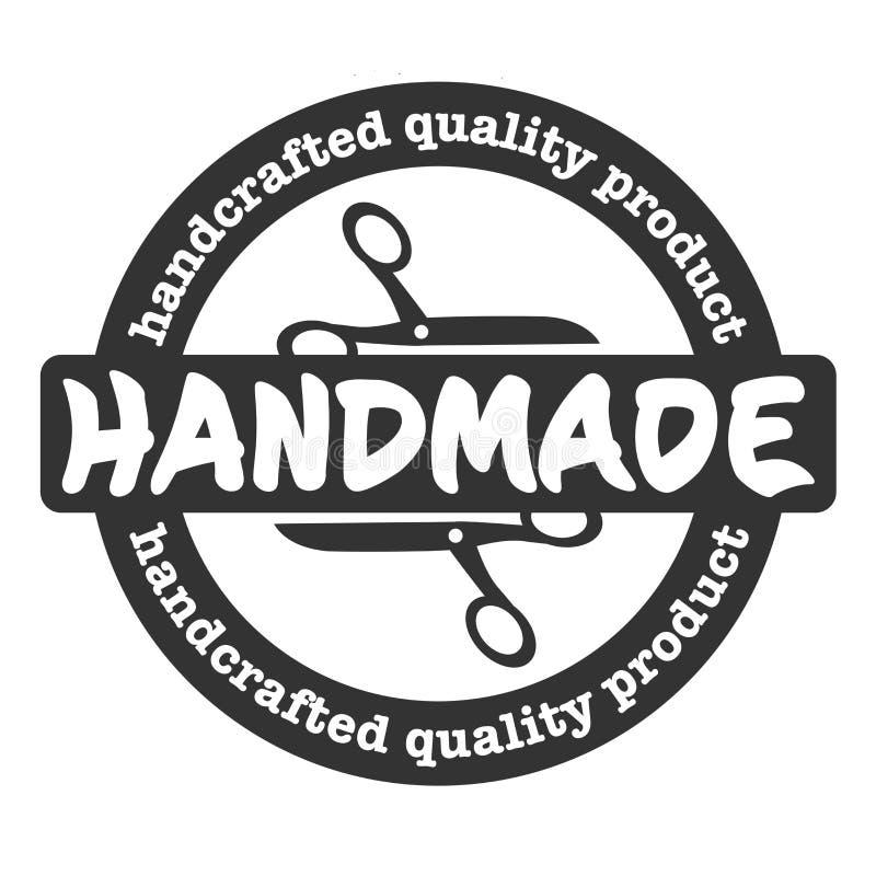 Ronde HANDMADE rubberstempelafdruksvectorillustratie afdruk stock illustratie