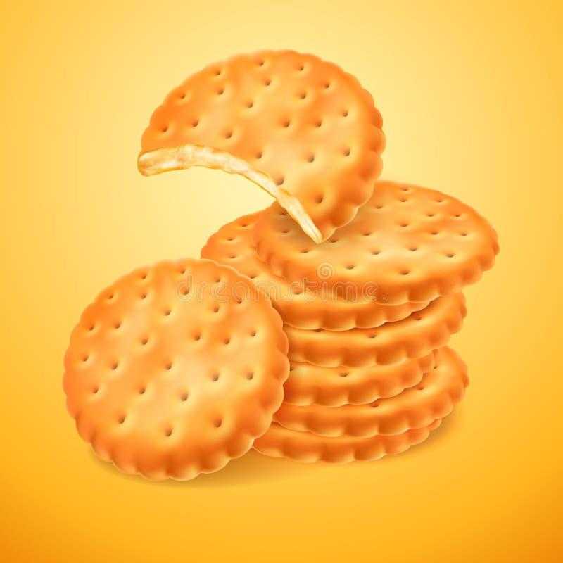Ronde heerlijke die koekjes of crackers op gele achtergrond worden geïsoleerd De gebeten vorm van koekje Knapperig baksel 3D vect royalty-vrije illustratie