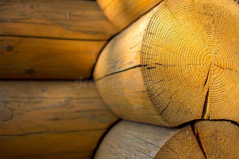 Ronde houten de close-upachtergrond van het logboekenblokhuis met zonbezinningen royalty-vrije stock afbeeldingen