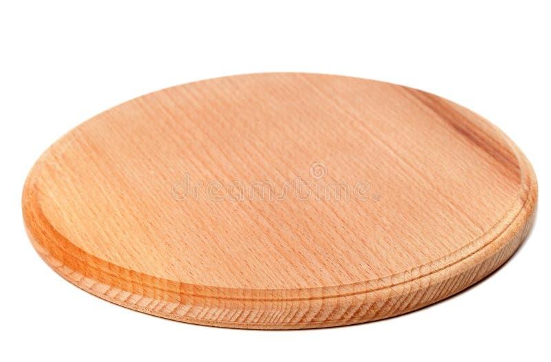 Ronde houten die keukenraad op witte achtergrond wordt geïsoleerd stock afbeelding