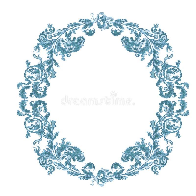 Ronde kader sier bloemen blauwe kleur stock illustratie